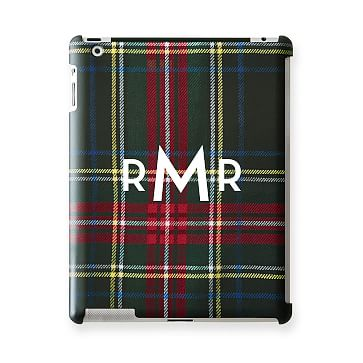 Pattern iPad Case, Black Preppy Plaid