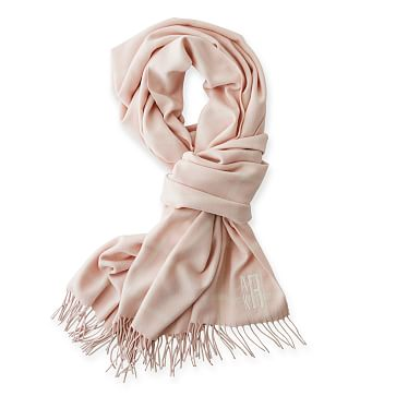 Blanket Scarf with Fringe, Blush and Ivory Window Pane