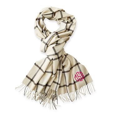 Blanket Scarf with Fringe, Ivory and Charcoal Window Pane