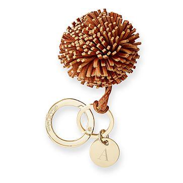 Leather Pompom Keychain, Camel