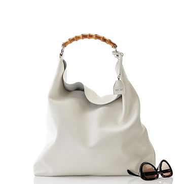 Bamboo Handle Hobo, White