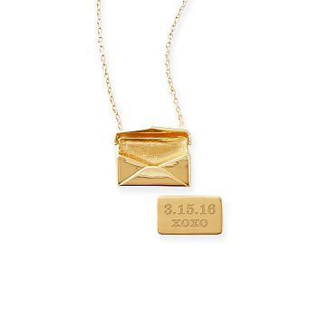Envelope Necklace, Gold Plate