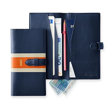 League Stripe Travel Wallet, Navy and Orange