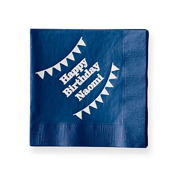 Colorful Cocktail Napkins, Set of 50, Navy, Personalized