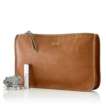 Leather Zip Clutch, Tan