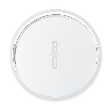 Round Mirrored Lacquer Tray, White