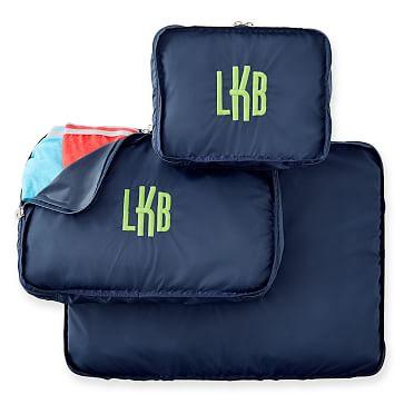 Zipper Travel Bags, Nylon, Set of 3, Navy
