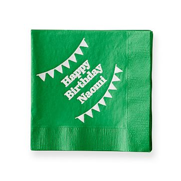 Colorful Cocktail Napkins, Set of 50, Kelly Green, Personalized