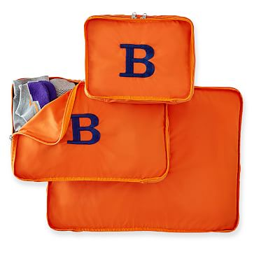 Zipper Travel Bags, Nylon, Set of 3, Orange