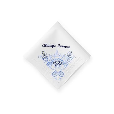 Hand Embroidered Heirloom Handkerchief, White and Blue, Crochet Rose