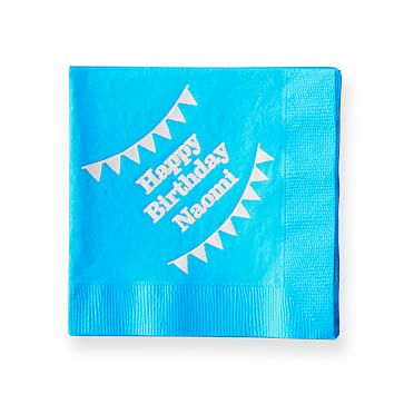Colorful Cocktail Napkins, Set of 50, Turquoise, Personalized
