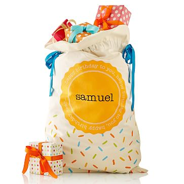 Birthday Sack, Canvas, Confetti