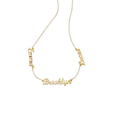 Emma Script Necklace, 3 Name, 15 inch - 17 inch Chain, Gold Plate