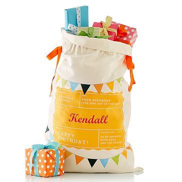 Birthday Sack, Canvas, Bunting