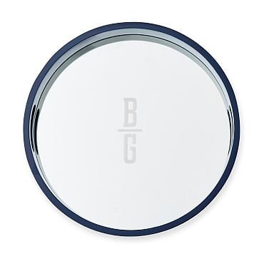Round Mirrored Lacquer Tray, Navy