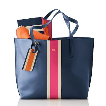 League Stripe Tote Bag, Navy and Pink