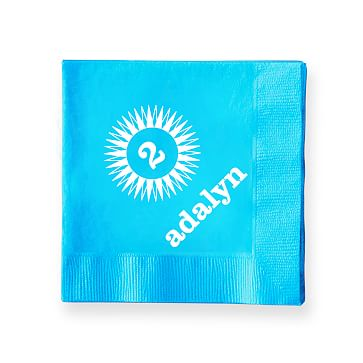 Colorful Cocktail Napkins, Set of 50, Turquoise, Starburst