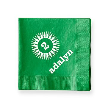Colorful Cocktail Napkins, Set of 50, Kelly Green, Starburst