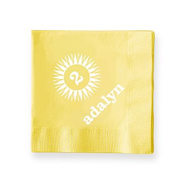 Colorful Cocktail Napkins, Set of 50, Yellow, Starburst