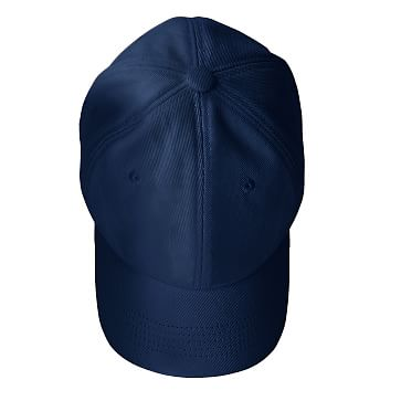 Adjustable Twill Baseball Hat with Patch, A, Navy and White