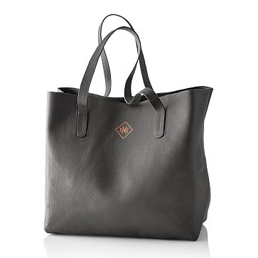 Everyday Leather Tote Bag, Gray - Personalized