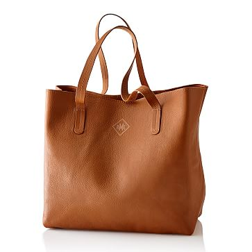 Everyday Leather Tote Bag, Camel - Personalized
