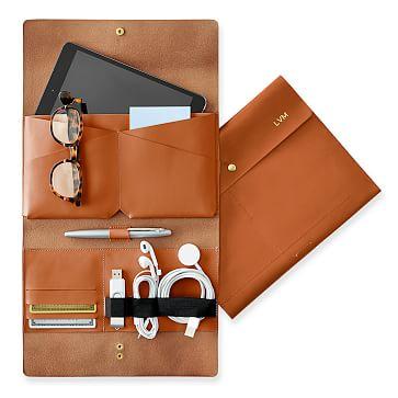 Leather Tech Envelope, Tan
