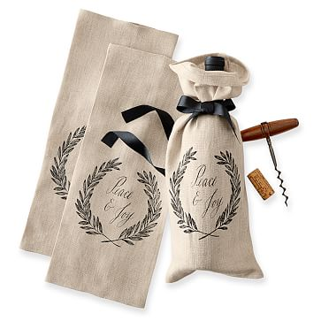 Maybelle Calligraphy Linen Wine Bags, Set of 3, Peace & Joy