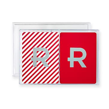 Double Deck Playing Cards, Red and White Candy Cane, Monogrammed