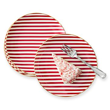 Ceramic Dessert Plates, Set of 4, Candy Cane Stripe
