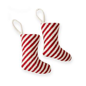 Needlepoint Stocking Ornament, Set of 2, Candy Cane Stripe