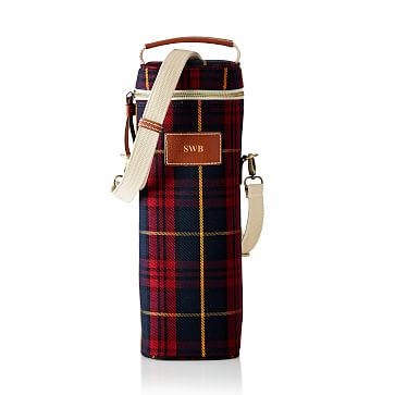 Insulated Wine Tote, Single, Red Plaid