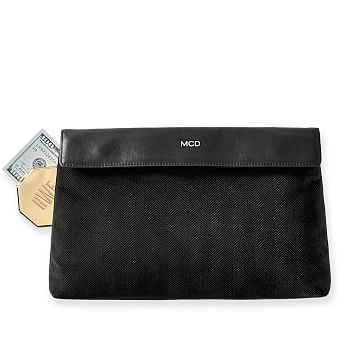 Velvet Herringbone Clutch, Black