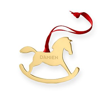 Rocking Horse Silhouette Ornament, Gold