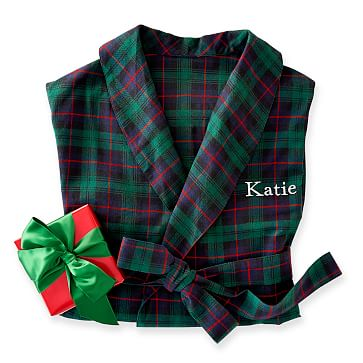 Women's Classic Robe, L-XL, Green Plaid