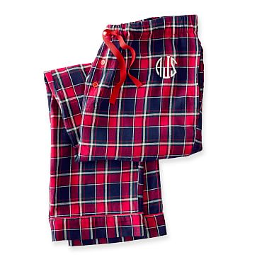 Women's Woven PJ Bottoms, Large, Red Plaid