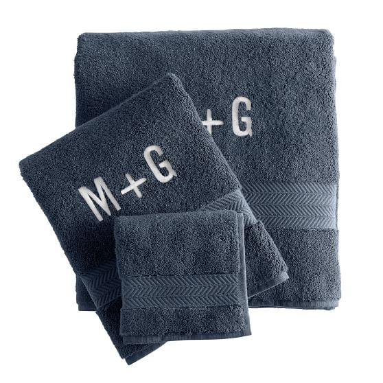 Turkish Hydro Cotton Towel Set, Porcelain Blue