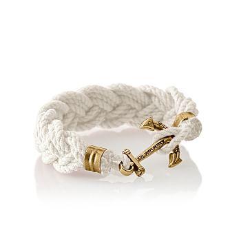 Turks Head Bracelet, Medium, White