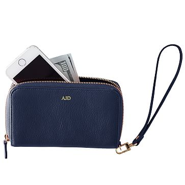 Leather Zip Wristlet Clutch Wallet, Navy