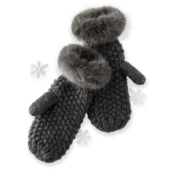 Chunky Knit Mitten with Fur, Charcoal