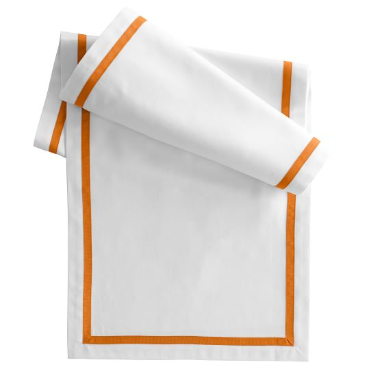 Table Runner with Inset Grosgrain Border, White Cotton with Orange